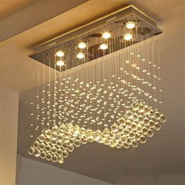 Drop Down ceiling lights online shopping - Contemporary Crystal Rectangle Chandelier Rain Drop k9 Crystal Ceiling Light Fixture Wave Design Flush Mount For Dining Room