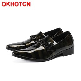 Men Slips Hot NZ - Hot Patent Leather Men Formal Shoes Leather Slip On Metal Hoops Italian Shoes Men Black Crystal Zapatos De Hombre Para Vestir