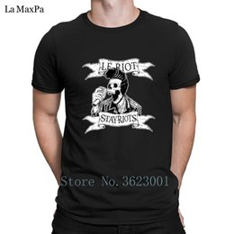 skull graphic tees UK - Creative Slim Tshirt For Men Le Riot Skull Elvis Rock And Roll T-Shirt Man Basic Tee Shirt Natural Men's T Shirt O Neck Graphic
