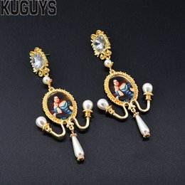 Baroque Paintings Australia - KUGUYS Vintage Portrait Oil Painting Tassel Earrings for Womens Trendy Jewelry Fashion Baroque Pearls Drop Earring Accessories