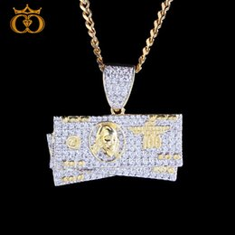 dollar jewelry 2019 - colorful.gem Double plating Dollar Pendant Necklace Men Iced Out CZ Tennis  Rose Chain Hip Hop Punk Gold Silver Charm Je