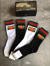 wholesale gift boxes cotton Australia - Unisex men G GC letter printing socks sports leisure fashion gold thread socks middle tube cotton 4pairs of l gift box hip hop stocking