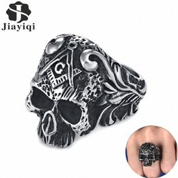 vintage gothic mens rings NZ - Jiayiqi Punk Masonic Signet Ring Vintage Gothic Titanium Stainless Steel Biker Skeleton Skull Finger Ring Mens Rock Jewelry Gift tMO3#