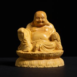 Art Guanyin Bodhisattva Statue Boxwood Carving Fengshui Decoration Handicrafts In Pain