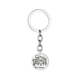 stainless steel keyrings wholesale NZ - 12PC Wholesale Best Teacher Engraved Keychain Teacher's day Gift Keyring School Thanksgiving Jewelry Stainless Steel Key Ring