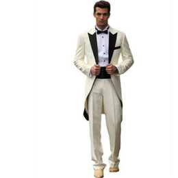 groom white tail tuxedo UK - men suits Long tails White Black Men Suit Groom Wedding Formal Tuxedos Suits Jacket Pants Custom Made