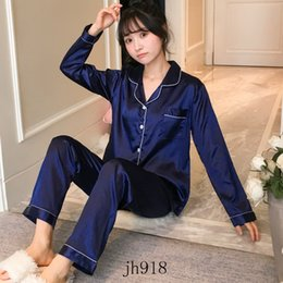 Wholesale print services for sale – custom Women s Spring Autumn Summer Ice Silk Printed Letter Pajamas Ladies Home Service Two piece Suit