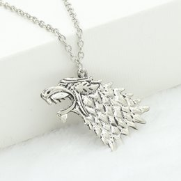 game thrones stark necklace Australia - Pendant Necklaces Chain Jewelry Silver Plated Game of Thrones Stark Direwolf Charm Vintage Silver Inspired Necklace A Song of Ice and Fire