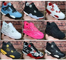 rubber cat shoes girls Australia - Kids 4 Bred Cactus Jack Pure Money Basketball Shoes 4s Children Boy Girls Pink White Alternate 89 Black Cat Sneakers Toddlers Birthday Gift