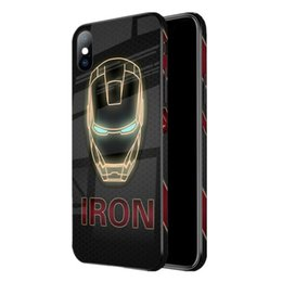 brown tempered glass UK - iron Man Spiderman Anime Phone Case Cover Tempered Glass TPU+PC Painted Captain America Protective Case For iPhone 6 6s 7 8 Plus XS XR X