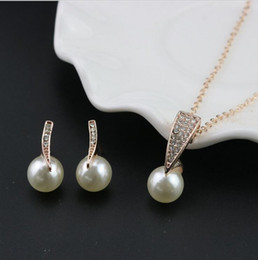 Copper earring Clasp online shopping - Bridal Jewelry Set Wedding Fashion Crystal Rhinestone Pearl Necklace pendants Earring Pearl Girls Women Bridesmaid Party Jewelry Sets