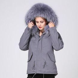 $enCountryForm.capitalKeyWord Australia - Hot sale women snow coats grey raccoon fur trim canvas jackets Meifeng Brand grey rabbit fur lining gray canvas mini parkas