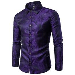 Wholesale golden color shirts men for sale – dress Noble Style Embroidered Printed Man Shirt Gentleman Party Wear Tops Long Sleeve England Men Vintage Blouse Fashion Golden Color