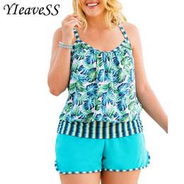 Plus Size Swimdress Swimsuit Woman Australia - High Cut Swimdress Plus Size Tankini Swimsuits Floral Print Swimwear Women Ladies Push Up With Shorts Sport Two Pieces 5xl Y19051801