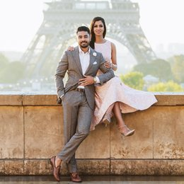 Navy Suits For Sale Australia - 2019 Two-Piece Wedding Tuxedos Gray Hot Sale Wedding Suits For Men Custom Made Groom Tuxedos (Jacket+Trousers)