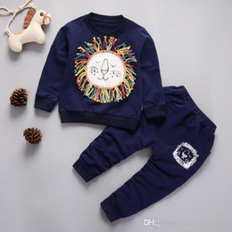 Branded Baby Kids Clothes Australia - Baby Boys And Girls Suit Brand Tracksuits Kids Clothing Set Hot Sell Fashion Spring Autumn Long Cartoon two piece suit clothes