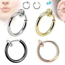 gold hoop nose piercing UK - 2Pcs Steel Fake Nose Ring & Stud Lip Ear Nose Clip On Fake Piercing Nose Lip Hoop Rings Earrings Golden Rose Ball body jewelry