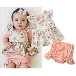 LittLe girLs two piece suits online shopping - Newborn Baby Shorts Suit Infant Girl Little Floral Ruffles Flying Sleeve T Shirt Solid Color Elastic Casual Outfits PP Pants Two Piece Set
