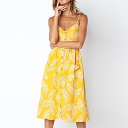 c36c2c1926c6 Vestito casual estivo Donna foglia stampato giallo estate Abiti Boho  Bottoni Tasche frontali senza spalline Bohemian Beach Midi Dress  L