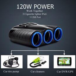 $enCountryForm.capitalKeyWord Australia - Car-charger 3 in 1 Cigarette Lighter Power Adapter Socket Splitter 3.1A 12V USB Car Charger for iPhone iPad Phone DVR GPS Kits