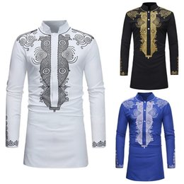 traditional african prints designs Australia - SHUJIN Men Dashiki Dress Shirt Summer African Clothing Man fashion design Shirt African traditional printed Male Hippie