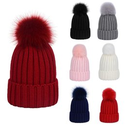 54a6cc0af90 Women Men Winter Ribbed Knitted Hat Solid Color Plain Woolen Cuffed Beanie  Cap Thicken With Cute Fluffy Pompom Ball Beanie with