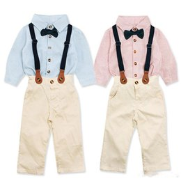 Gentlemen Shirt Style Australia - Boys Striped gentlemen suspender trousers outfits 3pc set stripe bow tie shirt+suspenders+khaki pants children basic style trousers for 1-5T