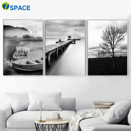 wall decor black art canvas Australia - Ship bridge Tree Sea Natural Wall Art Canvas Painting Nordic Posters And Prints Black White Wall Pictures For Living Room Decor