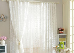 Small curtainS online shopping - Rose Curtain Simple Modern Three Dimensional Rose Embroidered Curtains Net Yarn Small Fresh Solid White Pink Wedding Bedroom Gauze