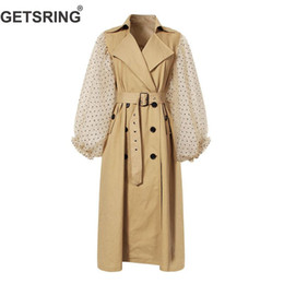Wholesale GETSRING Women Trench Coat Khaki Cotton Windbreakers Lantern Sleeve Spliced Double Breasted Coat Lace Up Slim Long Overcoat