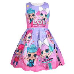Cartoon Tutus Australia - 2019 Fashion lol Dress Cartoon Print Girl tutu Dress Sleeveless Summer New Brand High Quality 5pcs lot W190328 Free ship