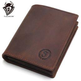 $enCountryForm.capitalKeyWord Australia - Rfid Blocking Short Wallets Crazy Horse Leather Wallet Men Genuine Leather Purse Card Vintage Male For Men Small Money Bag #124618