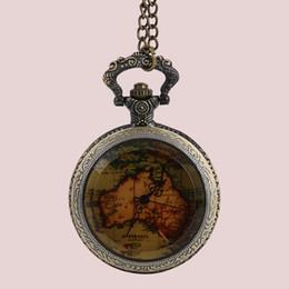 $enCountryForm.capitalKeyWord UK - Womens Men Map Quartz Pocket Watch Vintage Watch Necklace Gift Retro Australia Map Pendant Clock On Chain Drop shipping