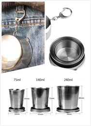 Stainless Steel Collapsible Travel Cup Australia - Creative Portable Stability Outdoor Camping Trip Stainless Steel Folding Cups Travel Kettle Collapsible Cup Metal Telescopic with Keychain