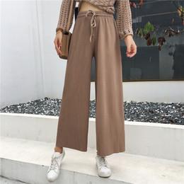 27511e6008c7 Women Pants Autumn Korean Fashion Bottoms Loose Big Size Black Waist Tie  Casual Women Wide Leg Pants Tide