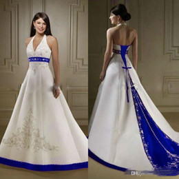 $enCountryForm.capitalKeyWord Australia - 2019 Vintage White and Royal Blue Satin Wedding Dresses Halter V Neck Embroidery Long Sweep Bridal Wedding Gowns A Line
