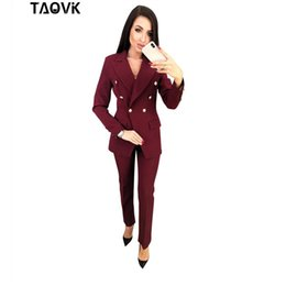 $enCountryForm.capitalKeyWord Australia - Taovk Ol Pant Suits Double-breasted Turn-down Collar Blazer Top+pants 2 Piece Outfits For Women Feminine Clothes Pantsuit 2019 J190616