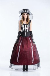 Wholesale bride costumes for sale – halloween Theme Costume Designer Womens Cosplay Sleeveless Dress Halloween Day Funny Dress Party Dress The Skeleton Bride