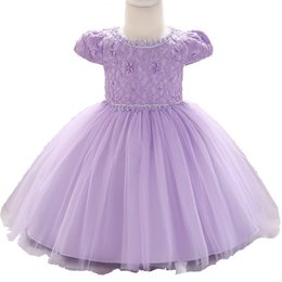 Purple Tulle Balls UK - Baby Girl Party Pearl Lace Princess Dress Infant Purple Flower Embroidery Wedding Formal Dress Kids Tulle Birthday Clothes Bw161 Y19061001