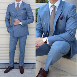 $enCountryForm.capitalKeyWord Australia - Blue Peaked Lapel Custom Made Double-breasted Wedding Men Suits Formal Tuxedos Prom Business Slim Fitted Clothing Set