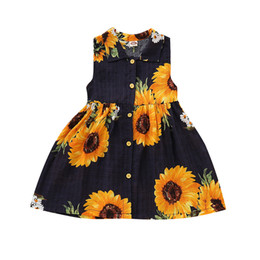 $enCountryForm.capitalKeyWord UK - Hot Sale Toddler Baby Girls Sleeveless Dresses Sunflower Print Dress Clothes Dropshipping Baby Clothes