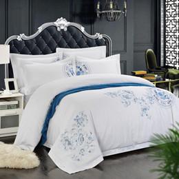 Bedsheet Cotton White Australia - 100% Cotton White Embroidered Bedding sets 4 6Pieces Hotel Bedsheet set Duvet cover Pillow shams Double King Queen size