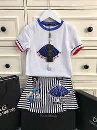 Summer Fabrics T Shirts Australia - DOLC Children's suit girls' skirt T-shirt suit, cotton fabric exquisite embroidery, new summer suit.