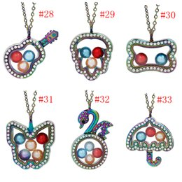 $enCountryForm.capitalKeyWord Australia - More Styles Magnetic Open Butterfly Guitar Glass Locket Pearl Cage Pendant Living Memory Floating Charms Necklace With Stainless Steel Chain