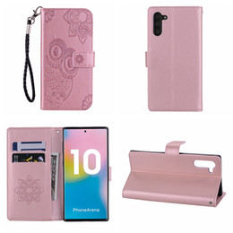 note cover pouch NZ - For Samsung Note 10 Pro A80 A60 A20E S10 5G Huawei P Smart Z Owl Leather Wallet Case Imprint ID Card Slot Flower Lace Cute Pouch Cover Strap