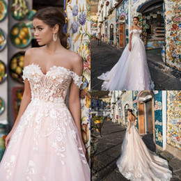 Lavender Blush Wedding Dress NZ - Blush Pink charming a Line Wedding Dresses with Off Shoulder Appliqued Floor Length Wedding Bridal gown Custom Made Vestido