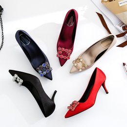 74d1eb2ac6e2 New Brand Designer Satin Women Pumps Sculpted Kitten Heel Pointed Toe Red Wedding  Women Shoes Crystal Square Buckle Female Pumps