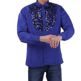 modern men shirts 2019 - TiaoBug Fashion Men Latin Dance Costumes Shiny Sequined Long Sleeve Choir Dance Stage Top Shirt Modern Tango Rumba Wear