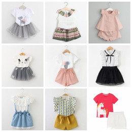 $enCountryForm.capitalKeyWord Australia - 2-7 years baby girls summer outfits total 42 designs children casual clothing set T-shirt tops+skirts or shorts pants 2 pcs suit