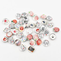 Glass apple charm online shopping - 50PCS Mixed Teacher Apple Glass Snap Button Charm for Glass Cabochons Jewelry Hot Selling Jewelry